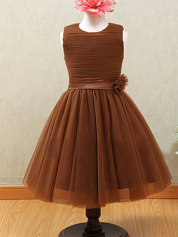 Brown Scoop Neck Tulle with Flower(s) Ankle-length Flower Girl Dresses #PDS01031877