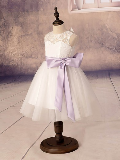 Simple Ankle-length Scoop Neck White Lace Tulle with Bow Flower Girl Dresses #PDS01031878