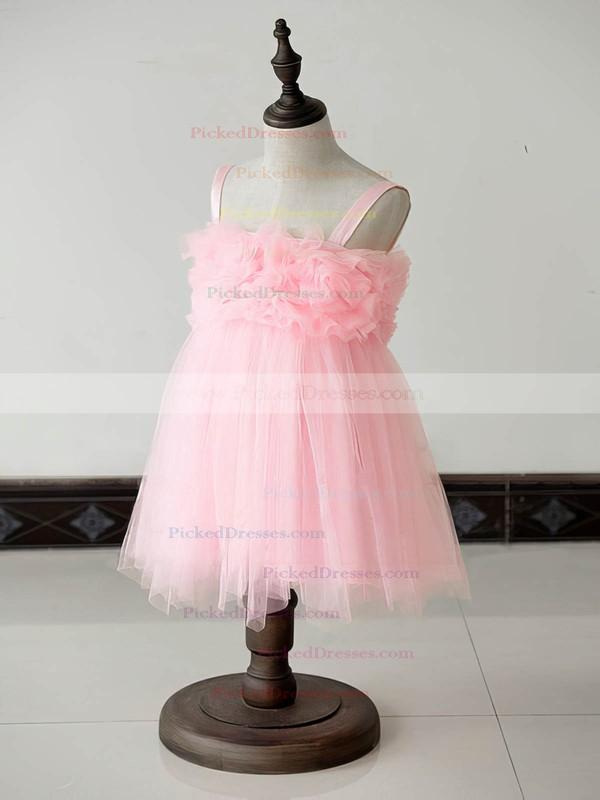 Beautiful Square Neckline Pink Tulle with Ruffles Knee-length Flower Girl Dresses #PDS01031879