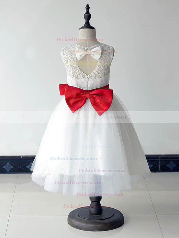 Best Scoop Neck White Lace Tulle with Bow Ankle-length Flower Girl Dresses #PDS01031880