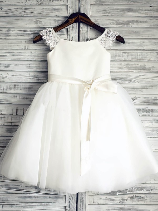 Discounted Ankle-length White Satin Tulle with Sashes/Ribbons Scoop Neck Flower Girl Dress #PDS01031881