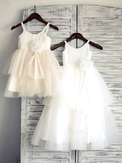 Beautiful Ball Gown White Tiered Satin Tulle Flower(s) Scoop Neck Flower Girl Dress #PDS01031882