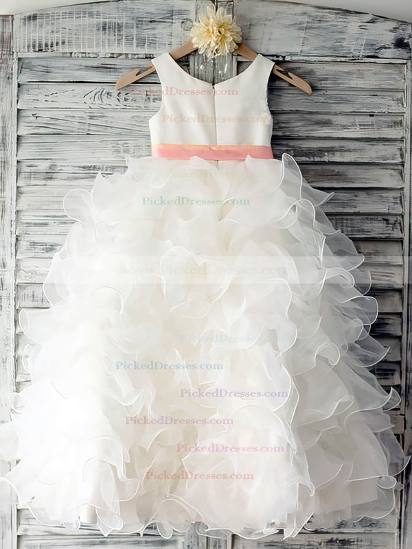 White Ball Gown Tiered Organza with Sashes/Ribbons Scoop Neck Flower Girl Dress #PDS01031883