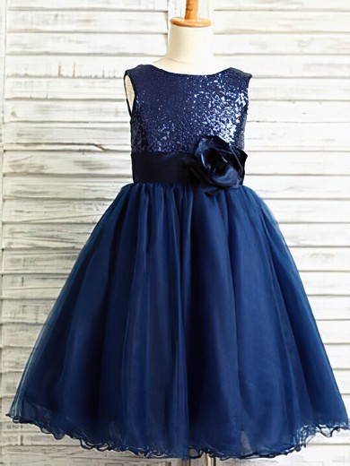 Beautiful Ankle-length Tulle Sequined Flower(s) Scoop Neck Flower Girl Dresses #PDS01031884