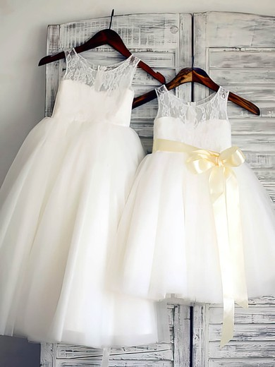 Pretty Ankle-length Ivory Scoop Neck Lace Tulle Sashes/Ribbons Flower Girl Dresses #PDS01031885