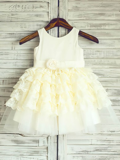 Scoop Neck Tiered Light Yellow Lace Satin Tulle Sashes / Ribbons Ball Gown Flower Girl Dress #PDS01031886