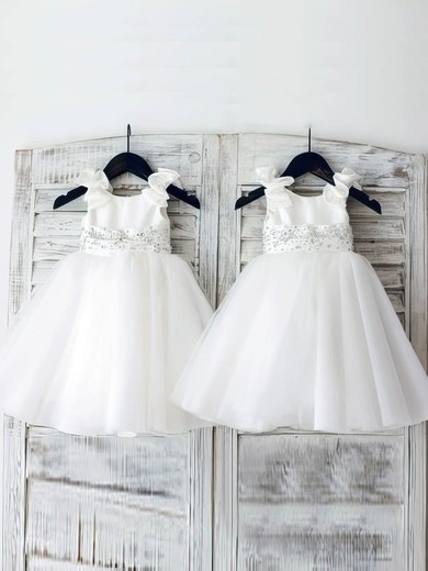 White Ball Gown Satin Organza Beading Cheap Scoop Neck Flower Girl Dress #PDS01031887