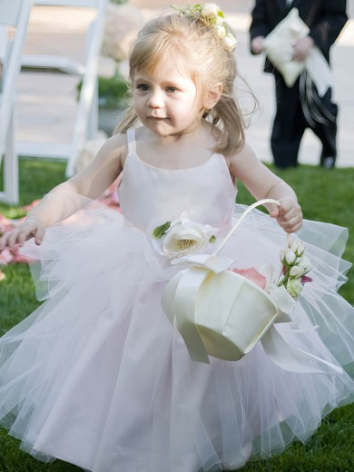 Scoop Neck Spaghetti Straps Pink Tulle Flower(s) Ankle-length Cute Flower Girl Dresses #PDS01031888