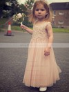 Pretty Ankle-length Pearl Pink Lace Tulle with Ruffles Scoop Neck Flower Girl Dresses #PDS01031889