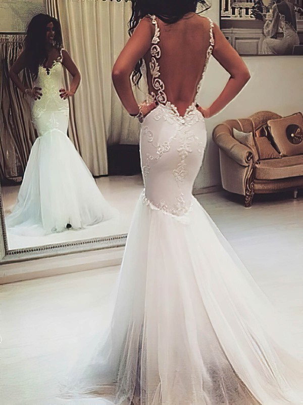Sweetheart Tulle Appliques Lace Trumpet/Mermaid Open Back Gorgeous Wedding Dress #PDS00021421