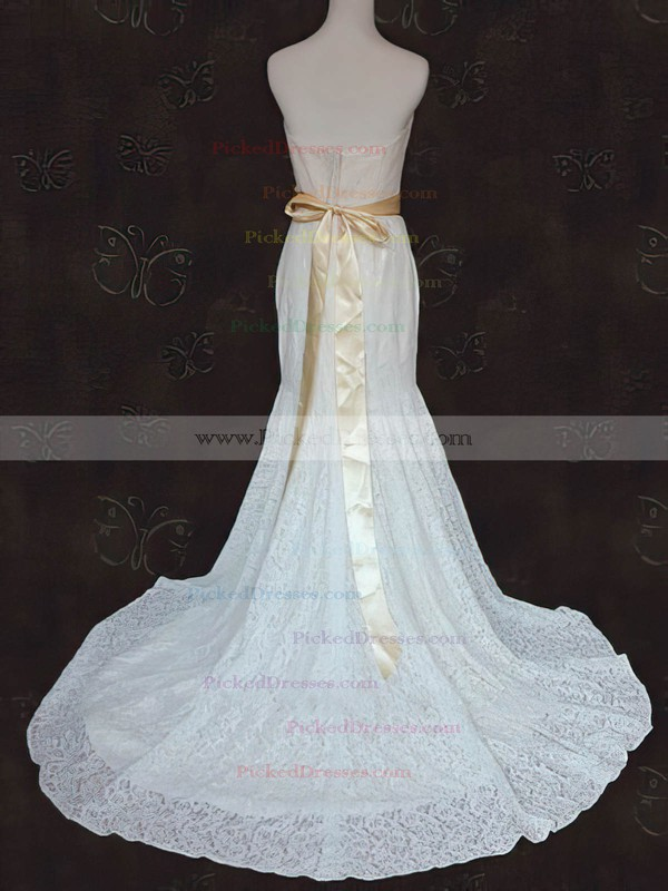 Vintage Strapless Ivory Lace Sashes / Ribbons Court Train Wedding Dress #PDS00021424