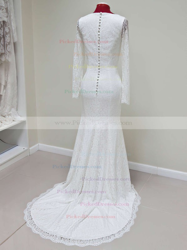New Trumpet/Mermaid Lace Ivory Long Sleeve Scoop Neck Wedding Dresses #PDS00021428