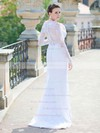 Elegant Sheath/Column Scoop Neck White Lace Long Sleeve Wedding Dress #PDS00021429