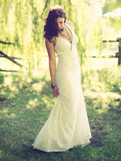 Ivory Lace V-neck Open Back Sheath/Column Wedding Dresses #PDS00021430