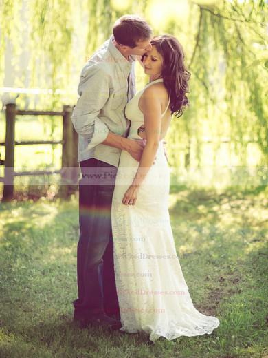 Ivory Lace V-neck Open Back Sheath/Column Wedding Dresses #PDS00021430