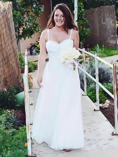 Simple Sweetheart White Tulle Ruffles Princess Wedding Dresses #PDS00021434