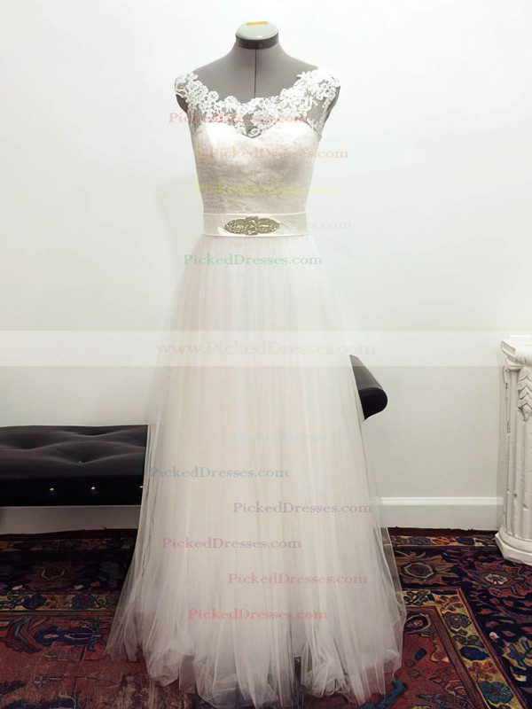 White Lace Tulle with Sashes/Ribbons Floor-length Vintage Wedding Dresses #PDS00021435