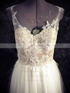 Floor-length White Tulle Appliques Lace Open Back Sweetheart Wedding Dresses #PDS00021436