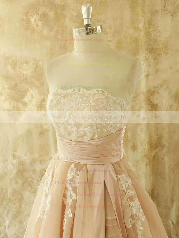 Strapless Champagne Organza with Appliques Lace Chapel Train Famous Wedding Dresses #PDS00021441