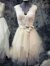 Champagne Tulle Lace Sashes/Ribbons Asymmetrical Short/Mini Wedding Dresses #PDS00021442