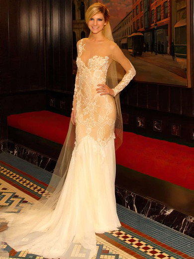 Scoop Neck Chiffon Tulle Appliques Lace Long Sleeve Trumpet/Mermaid Wedding Dress #PDS00021443