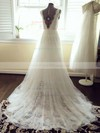 V-neck Ivory Tulle Lace Sashes/Ribbons Court Train Beautiful Wedding Dresses #PDS00021448
