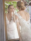 Pretty Trumpet/Mermaid Watteau Train Ivory Lace 1/2 Sleeve Wedding Dresses #PDS00021451