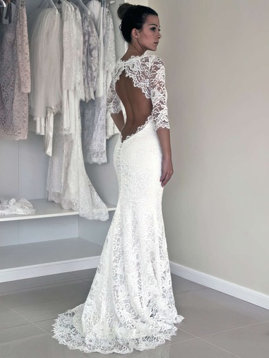 Good Trumpet/Mermaid 3/4 Sleeve White Lace Open Back Wedding Dress #PDS00021456