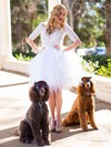 Lace Tulle Ball Gown Scoop Neck Short/Mini Ruffles Wedding Dresses #PDS00021457