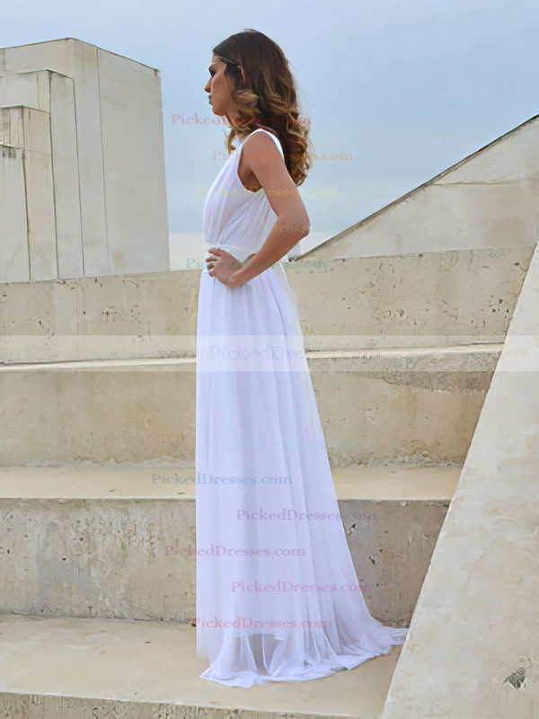 V-neck White Chiffon Lace Sashes/Ribbons Open Back A-line Wedding Dress #PDS00021458