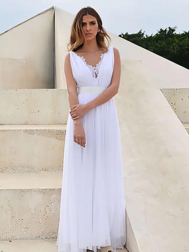 V-neck White Chiffon Lace Sashes/Ribbons Open Back A-line Wedding Dress #PDS00021458