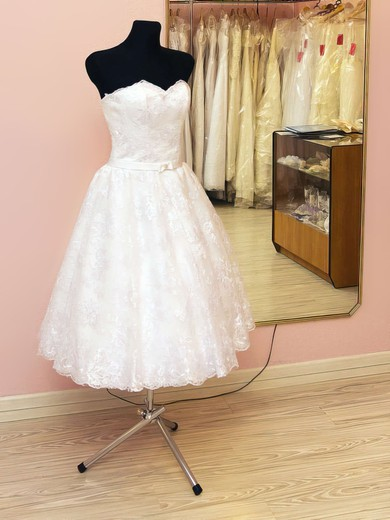Sweetheart White Lace Sashes/Ribbons Lace-up Tea-length Wedding Dresses #PDS00021459