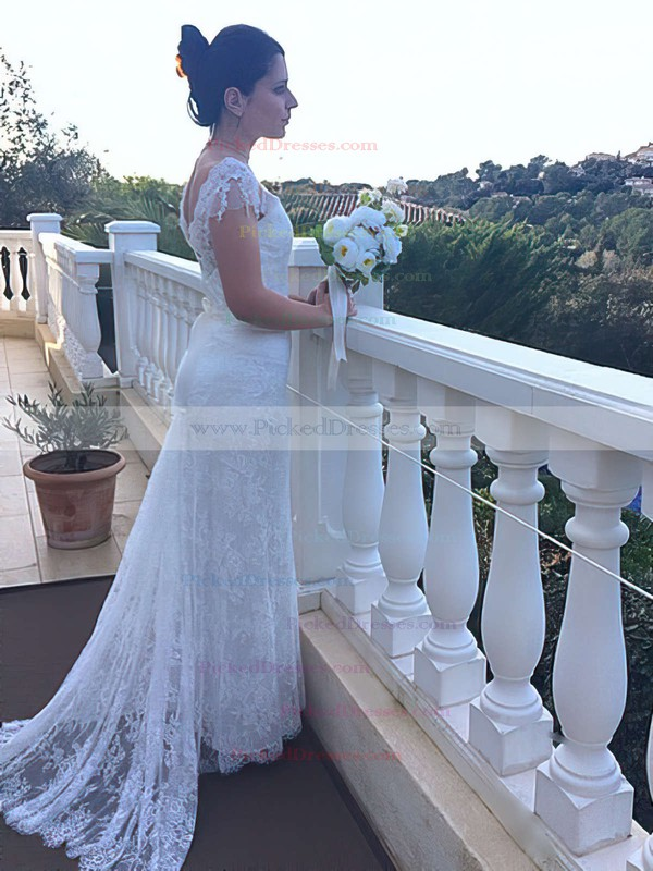 Nicest Trumpet/Mermaid Ivory Lace Cap Straps Off-the-shoulder Wedding Dresses #PDS00021460