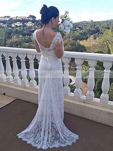Nicest Trumpet/Mermaid Ivory Lace Cap Straps Off-the-shoulder Wedding Dresses #PDS00021460