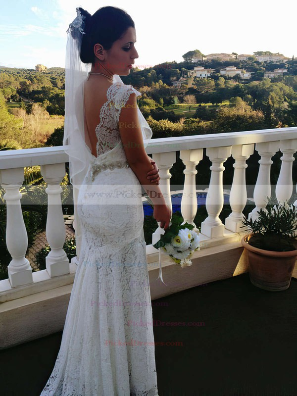 Sweetheart Ivory Lace Beading Open Back Trumpet/Mermaid Wedding Dresses #PDS00021461