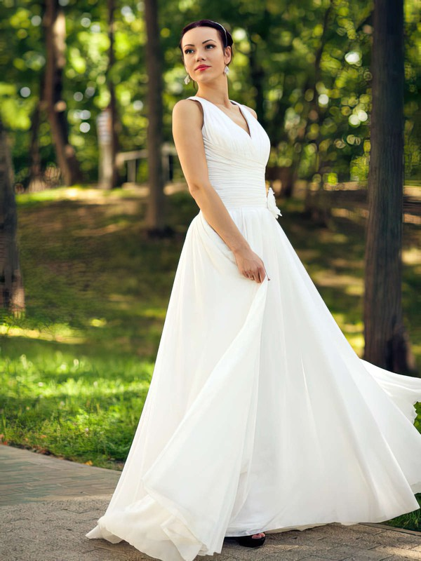 Nice Ruffles V-neck Floor-length Ivory Chiffon Wedding Dresses #PDS00021463