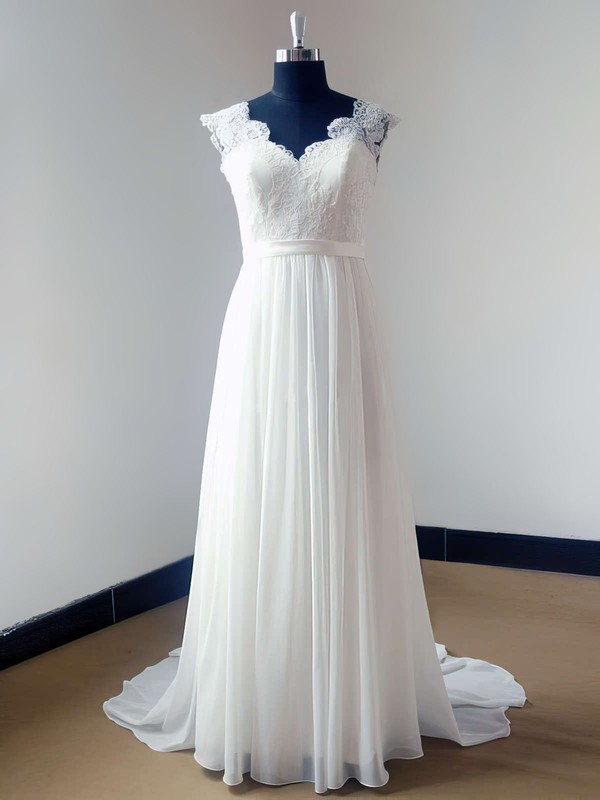 Ivory V-neck Chiffon Lace Open Back Sweep Train Discounted Wedding Dress #PDS00021468