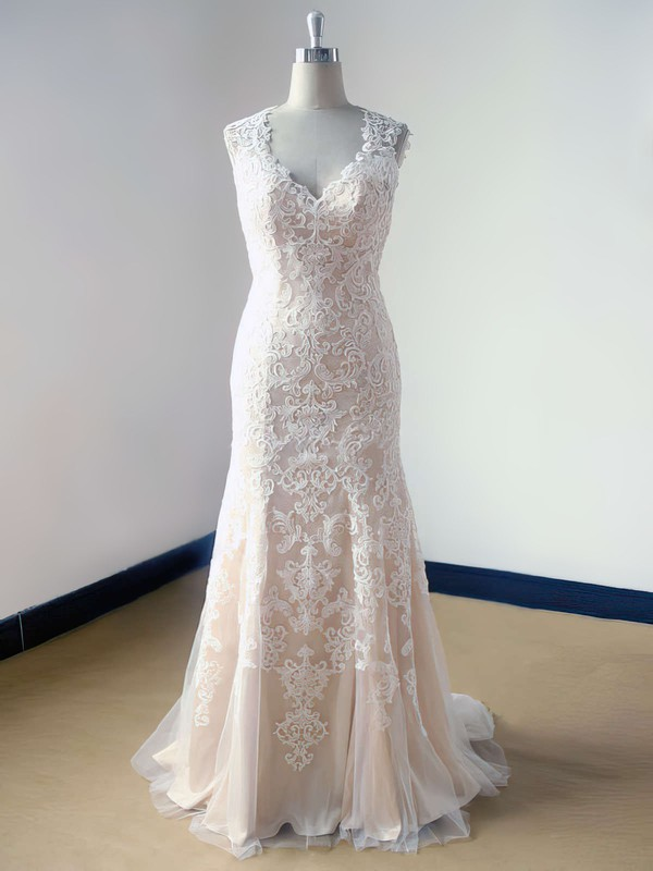 V-neck Champagne Tulle Lace Open Back Ruffles Trumpet/Mermaid Wedding Dress #PDS00021469