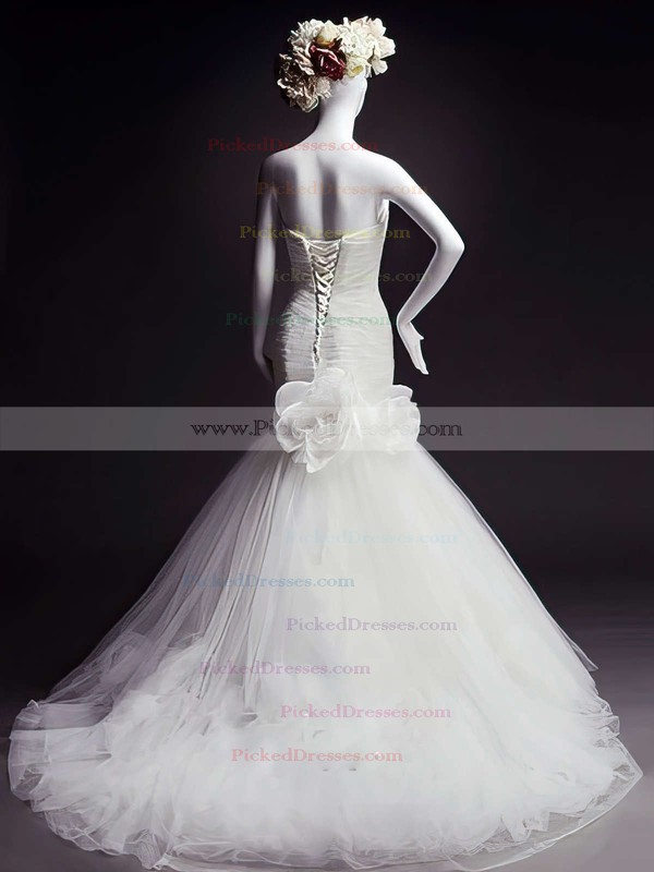 Sweetheart White Tulle with Flower(s) Lace-up Trumpet/Mermaid Wedding Dresses #PDS00021473