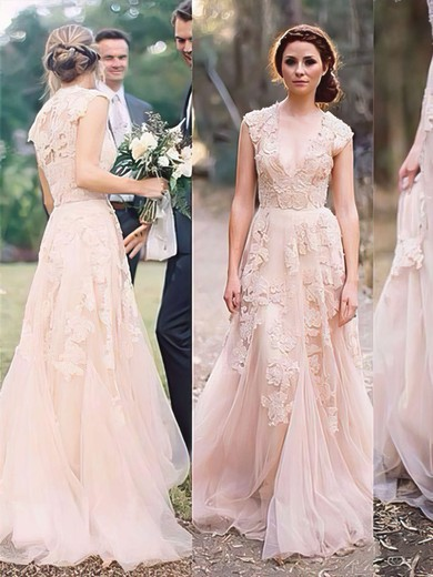V-neck with Cap Straps Pearl Pink Tulle Appliques Lace Expensive Wedding Dress #PDS00021475