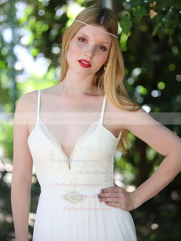 Summer White Chiffon Lace Spaghetti Straps Backless V-neck Wedding Dresses #PDS00021481
