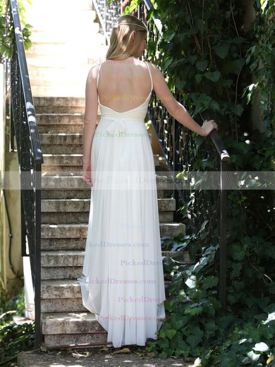 Summer White Chiffon Lace Spaghetti Straps Backless V-neck Wedding Dresses #PDS00021481