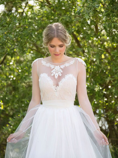 Sweep Train White Tulle Appliques Lace Scoop Neck Long Sleeve Wedding Dresses #PDS00021482