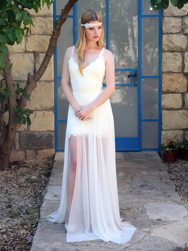 Fashionable Ivory Lace Chiffon Split Front Open Back V-neck Wedding Dress #PDS00021483