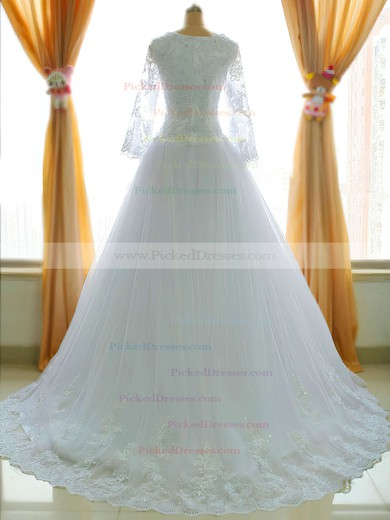 Long Sleeve Chapel Train Tulle Appliques Lace Square Neckline Coolest Wedding Dress #PDS00021485