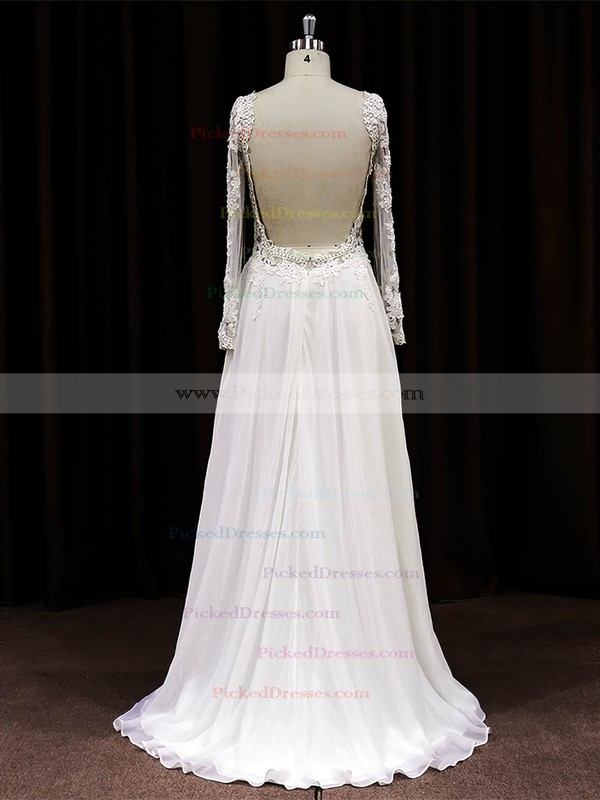 Sweep Train Long Sleeve White Chiffon Tulle Appliques Lace Scoop Neck Wedding Dress #PDS00021488