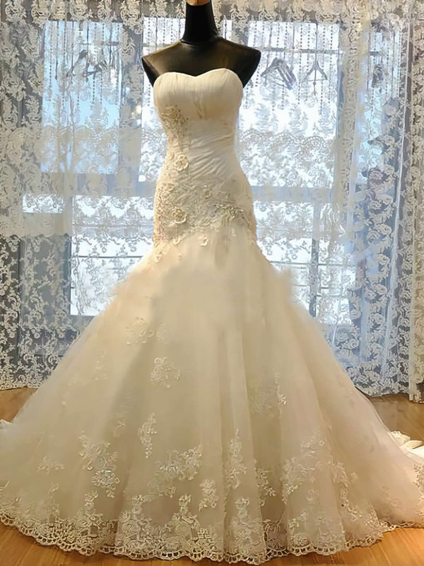 Promotion Sweetheart Appliques Lace Trumpet/Mermaid Lace-up Satin Tulle Wedding Dresses #PDS00021489