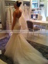 Nicest Sweetheart White Tulle Appliques Lace Trumpet/Mermaid Wedding Dresses #PDS00021490