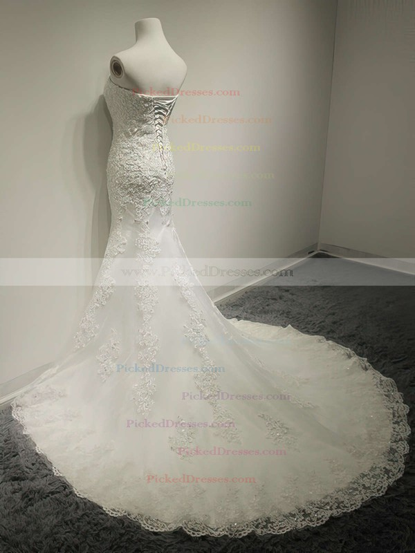 Modest Trumpet/Mermaid Ivory Lace Sequins Lace-up Sweetheart Wedding Dress #PDS00021491