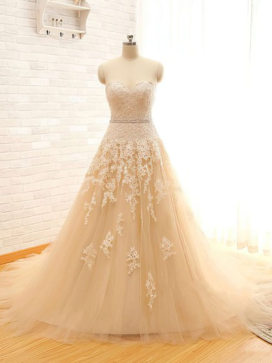 Chapel Train Champagne Tulle Appliques Lace Lace-up Designer Wedding Dresses #PDS00021496